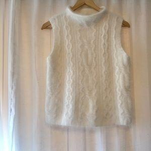 Angora Rabbit Hair Cable Knit Mocked Neck Sweater